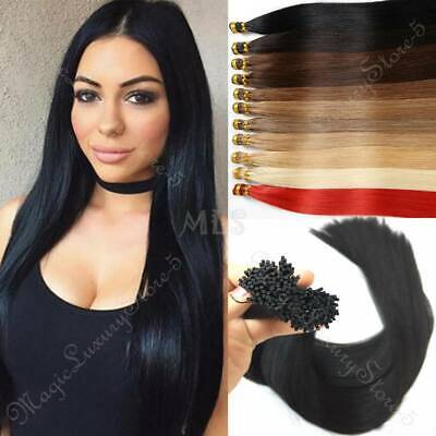 Brazilian Remy 200g Thick I TIP Stick Human Hair Extension Micro Ring Pre Bonded • 127.80£