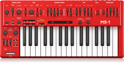 Behringer MS-1-RD Analog Synthesizer 32-key Keyboard MS1 Red • 459.72£