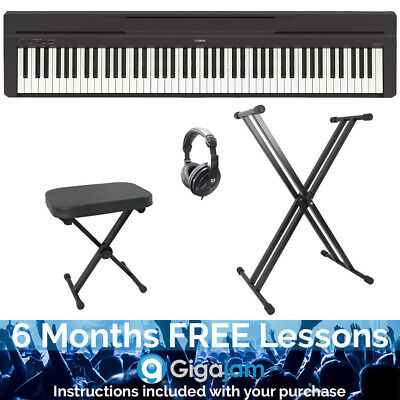 Yamaha P45B 88 Note Stage Digital Piano Pack With Stand, Stool And Headphones • 420.83£