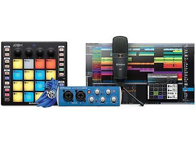 PreSonus ATOM Producer Lab 16-pad USB MIDI Controller/AudioBox USB 96/M7 Mic • 402.49£