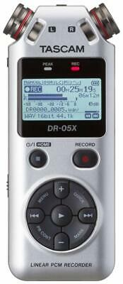 Tascam DR-05X Silver Stereo Handheld Digital Recorder and USB Audio Interface