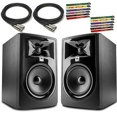 JBL 305P MkII 5  Powered Studio Monitor (Pair) +Two 10 Ft. XLR Cables And Two 6- • 251.30£