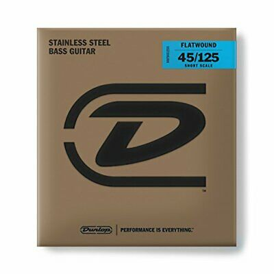 Dunlop Stainless Steel Flatwound Bass Strings Short Scale 5-String Set 45-125 • 89.94£