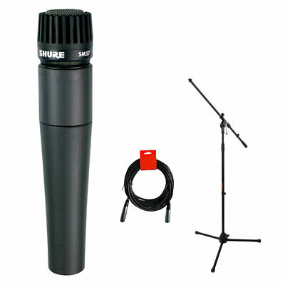 Shure SM57-LC Dynamic Instrument Microphone With Tripod Microphone Stand & Cable • 90.94£
