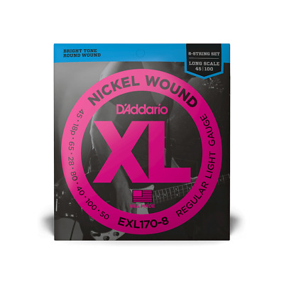 D'Addario EXL170-8 Long Scale 45-100 Light 8-String Electric Bass Strings 5 Sets • 128.21£