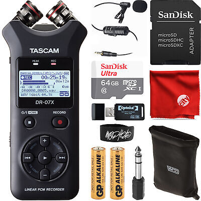 Tascam DR-07X Stereo Handheld Audio Recorder Bundle With 64GB + Lapel Microphone • 115.62£