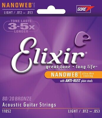 11052 Elixir Acoustic Nanoweb 80/20 Bronze Light Guitar Strings 012-053 • 10.99£