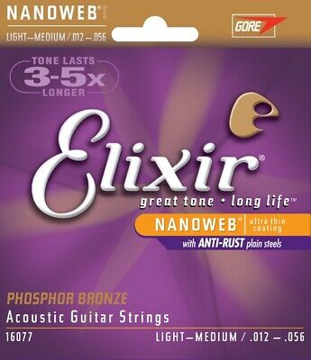 16077 Elixir Acoustic Nanoweb Phosphor Bronze Light-Medium Guitar Strings 12-056 • 10.99£