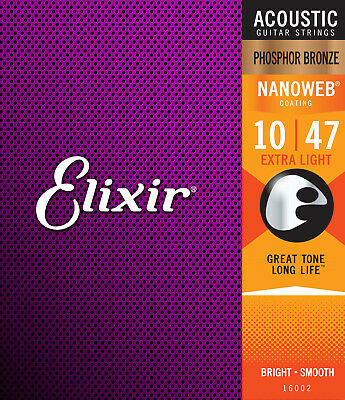 16002 Elixir Acoustic Nanoweb Phosphor Bronze Extra Light Guitar Strings 010-047 • 12.99£