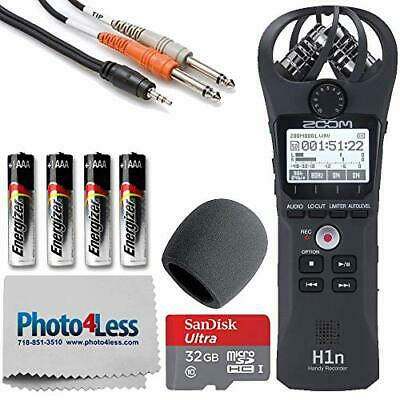 Zoom H1n Portable Digital Recorder + Mic Windscreen +3.5 Mm TRS To Dual 1/4 T... • 135.58£