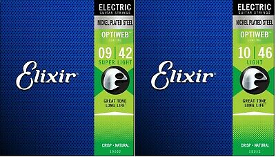 Elixir 19002 19052 Optiweb Electric Guitar Strings 09-42 10-46 Super Light • 12.24£