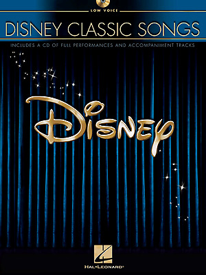 DISNEY CLASSIC SONGS FOR LOW VOICE Piano Vocal Guitar Music Book & CD 10 Songs