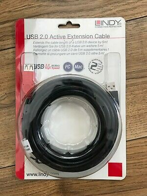 Lindy 5m USB 2.0 Active Extension Cable New In Retail Packaging • 10.99£