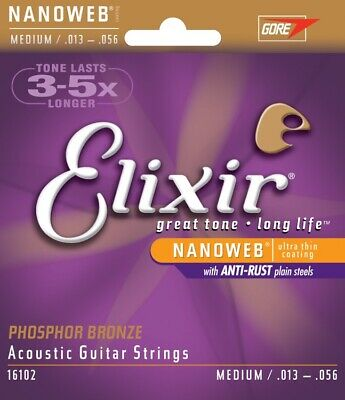 16102 Elixir Acoustic Nanoweb Phosphor Bronze Medium Guitar Strings 013-056 • 12.99£