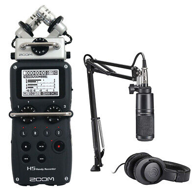 Zoom H5 Recorder Podcast Kit With Audio-Technica AT2020 Studio Microphone Bundle • 287.37£