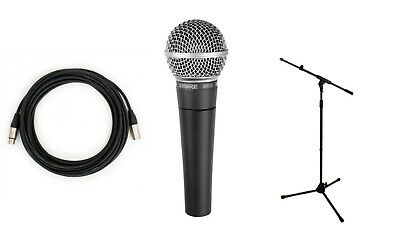 Shure SM58-LC Cardioid Dynamic Vocal Microphone With Boom Stand & 10M XLR Cable • 149.99£