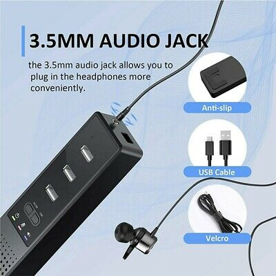 3 In 1 Computer Speakers With Microphone Hubs USB Conference Speaker PC Mic New • 13.20£