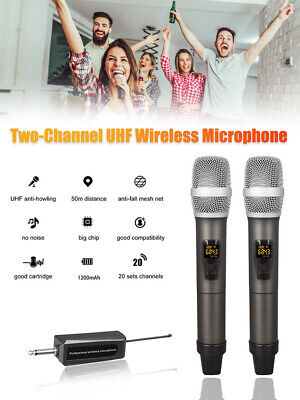 Wireless Microphone Dual Channels UHF Handheld Professional Chargeable Receiver • 41.79£