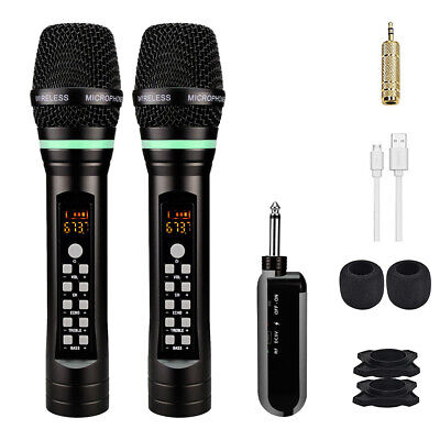 2pcs UHF Portable Reachargeable Microphone With Receiver Wireless Microphone • 41.79£
