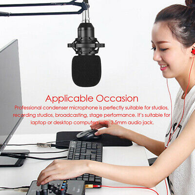 Condenser Microphone Studio Sound Recording 3.5mm Audio Cable Microphone SUP • 18.33£