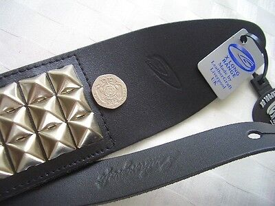 Uk Made Large Pyramid Studded Leather Acoustic,electric Or Bass Guitar Strap