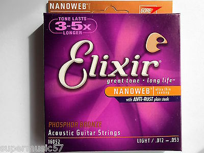 Elixir 16052 Phosphor Bronze Nanoweb Long Life Light Acoustic Strings 012 - 053 • 16.95£