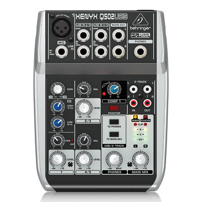 Behringer Xenyx Q502USB 5-Input 2-Bus Mixer Portable Mixer & USB Audio Interface • 59.95£