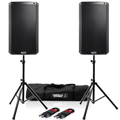 Alto TS315 Active 15  DJ Disco PA Speakers (Pair) With Gorilla Stands & Cables • 599£