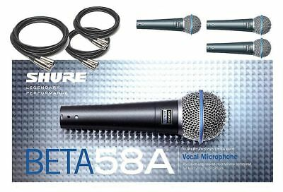 Shure Beta58A Supercardioid Dynamic Microphones Bundle 3-Pack W/ 20' XLR Cables  • 343.60£