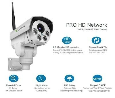 Luowice 1080P Security Camera Indoor/Outdoor With PTZ 4X Zoom Audio Night Vision • 129£