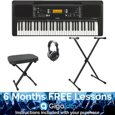 Yamaha PSRE363 Portable Keyboard Package With 6 Months Free Online Music Lessons • 209.82£