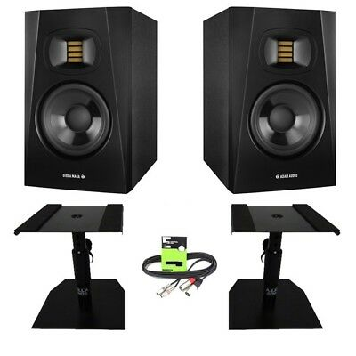 Adam Audio T5V Active 5  DJ Studio Monitor Speaker Pair + Stands + Cable Package • 289£