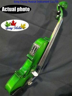 Solid Wood Green Colors Electric&acoustic Violin 4/4 With Case,bow,rosin,cable • 70.05£