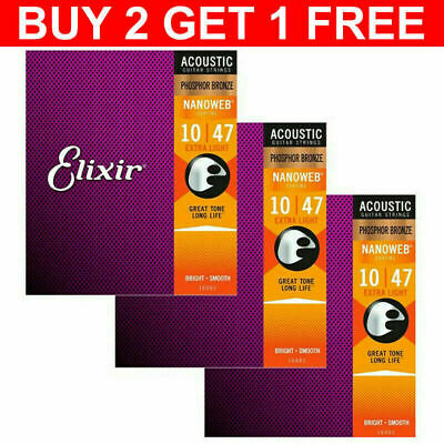 Elixir Acoustic Guitar Strings Nanoweb Phosphor Bronze 16002 16027 16052 2021 • 5.99£