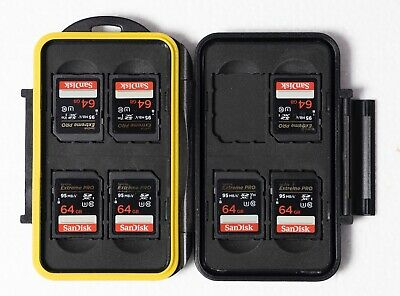 7 X SANDISK EXTREME PRO SDXC 64GB CARDS.  95mbs. V30. Class10. With Case. • 21£