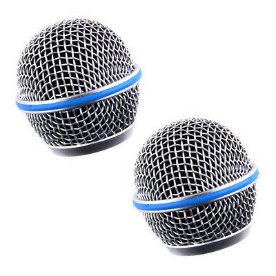 2Pcs Microphone Grille Grill Steel Ball Head Mesh Fit For Shure Beta58A SM58 • 5.57£