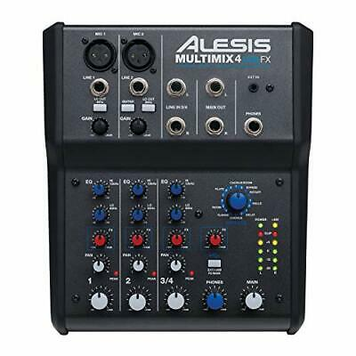 Alesis MultiMix 4 USB FX – 4 Channel Compact Studio Mixer with Built In