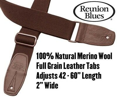 Reunion Blues Merino Wool BROWN Guitar Strap NEW Acoustic Electric Bass • 21.19£