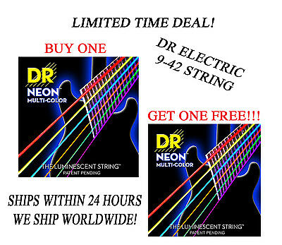 **dr Hi-def Neon Multi-color Electric Guitar Strings (9-42) -- Coated Strings** • 10.40£