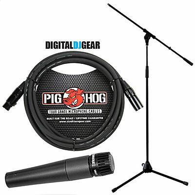 Shure SM57LC SM-57 Dynamic Instrument Microphone W/ Pig Hog Mic Cable & Stand • 96.67£