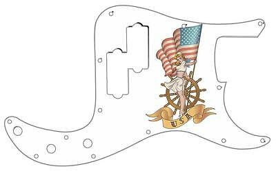 P Bass Precision Graphical Pickguard Custom Fender 13 Hole Guitar Pin Up USA WH • 31.19£