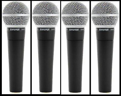 (4) New Shure SM58 Vocal Mics  Authorised Dealer Make Offer Buy It Now! • 283.28£