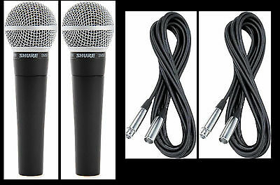 (2) New Shure SM58 Vocal Mics & Cables Authorised Dealer Make Offer Buy It Now! • 148.79£