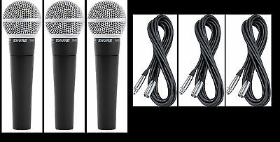 (3) New Shure SM58 Vocal Mics & Cables Authorised Dealer Make Offer Buy It Now! • 213.89£