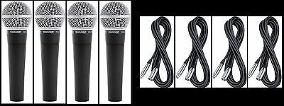 (4) New Shure SM58 Vocal Mics & Cables Authorised Dealer Make Offer Buy It Now! • 285.43£