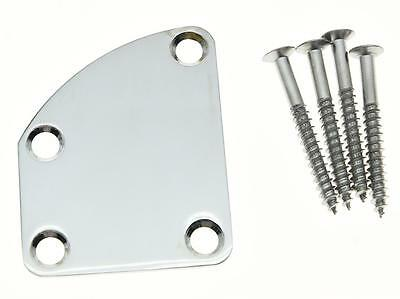 Chrome Electric Guitar Neck Plate Metal Neckplate Fits Fender Deluxe Strat Tele