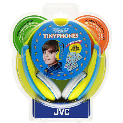JVC Boys Tiny Phones Yellow/Blue Headphones, Decorated With Supplied Stickers 4+ • 19.99£