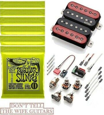 Emg Fat 55 Red & Black Retro Active Standard Spaced Set ( 6 Ernie Ball #2221 ) • 160.76£