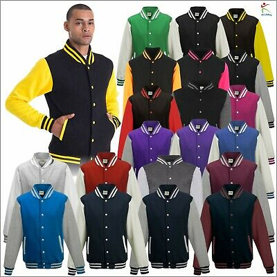 AWDis Unisex Men's Casual Varsity Baseball Jacket College Letterman American TOP • 16.99£