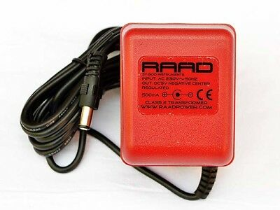 RAAD Regulated Power Supply DC 9V Adapter Guitar Effect Pedal Wall Wart Negative • 44.95£